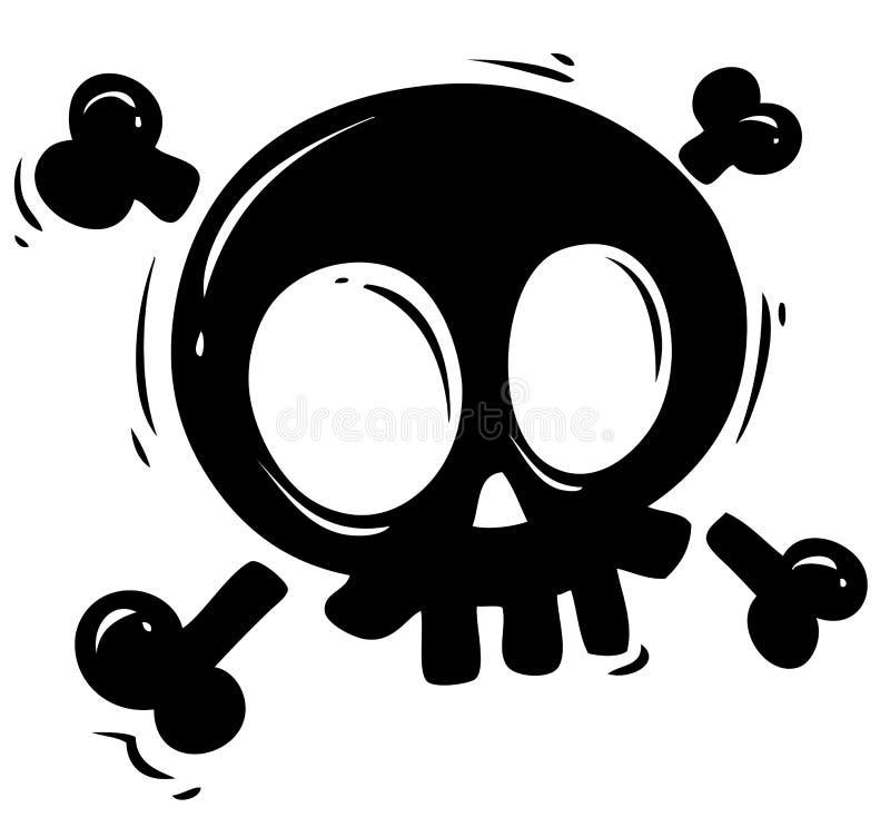 Cráneo negro de la silueta con los huesos cruzados libre illustration