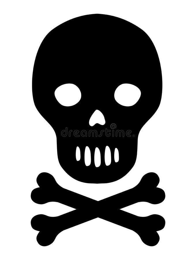 Cráneo negro de la silueta del vector con el icono de los huesos libre illustration