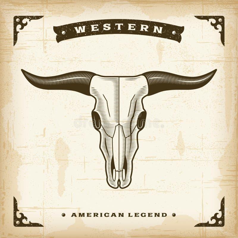 Cráneo occidental de Bull del vintage stock de ilustración