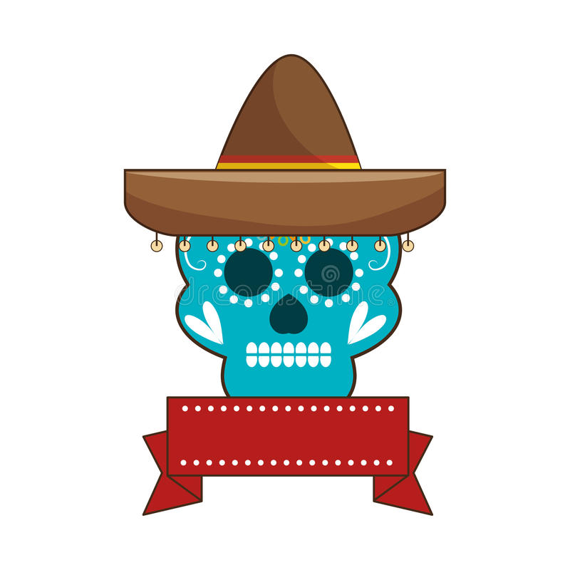 Cráneo ornamental decorativo del azúcar con la cinta un sombrero mexicano libre illustration