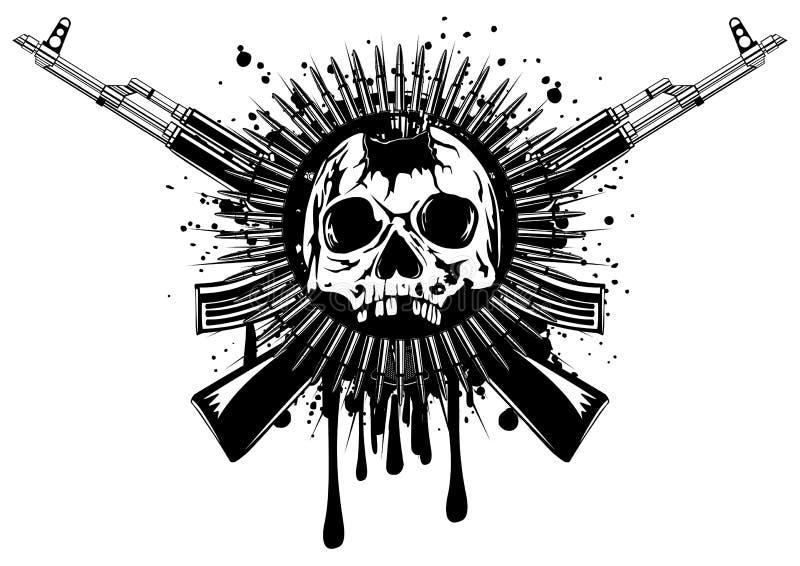 Cráneo perforado con la ametralladora cruzada ilustración del vector