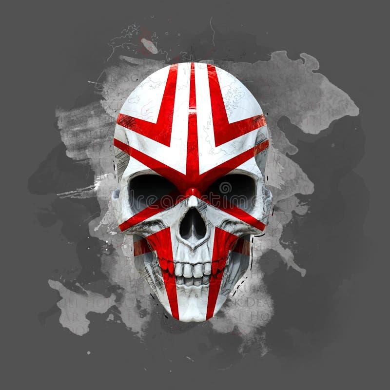 Cráneo pintado apocalíptico de los posts stock de ilustración