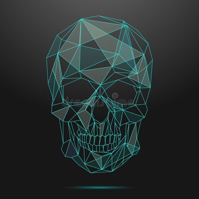 Cráneo polivinílico bajo Línea fina vector del cráneo ilustración del vector