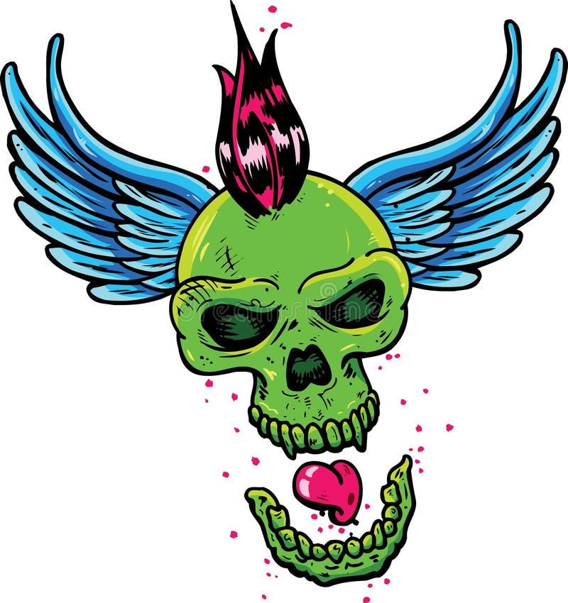 Cráneo punky del estilo del tatuaje con las alas ilustración del vector