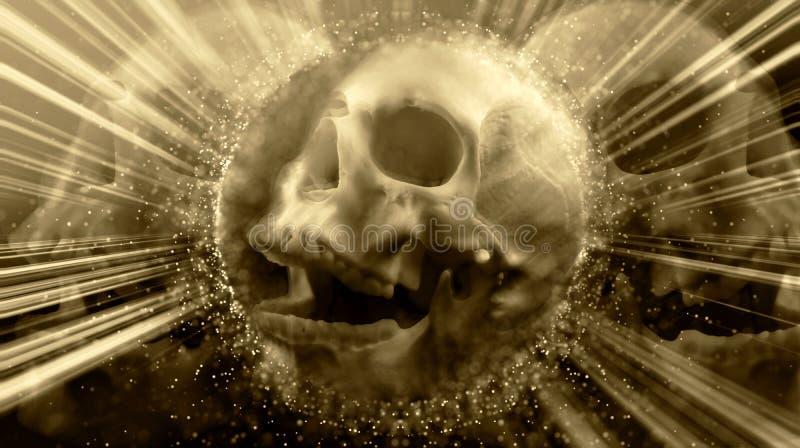 Cráneo que brilla intensamente del vintage aterrorizante abstracto artístico fotografía de archivo libre de regalías