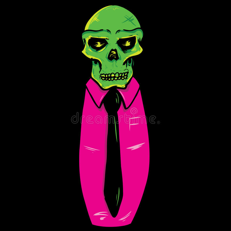 Cráneo que desgasta una ilustración del vector del juego y del lazo stock de ilustración