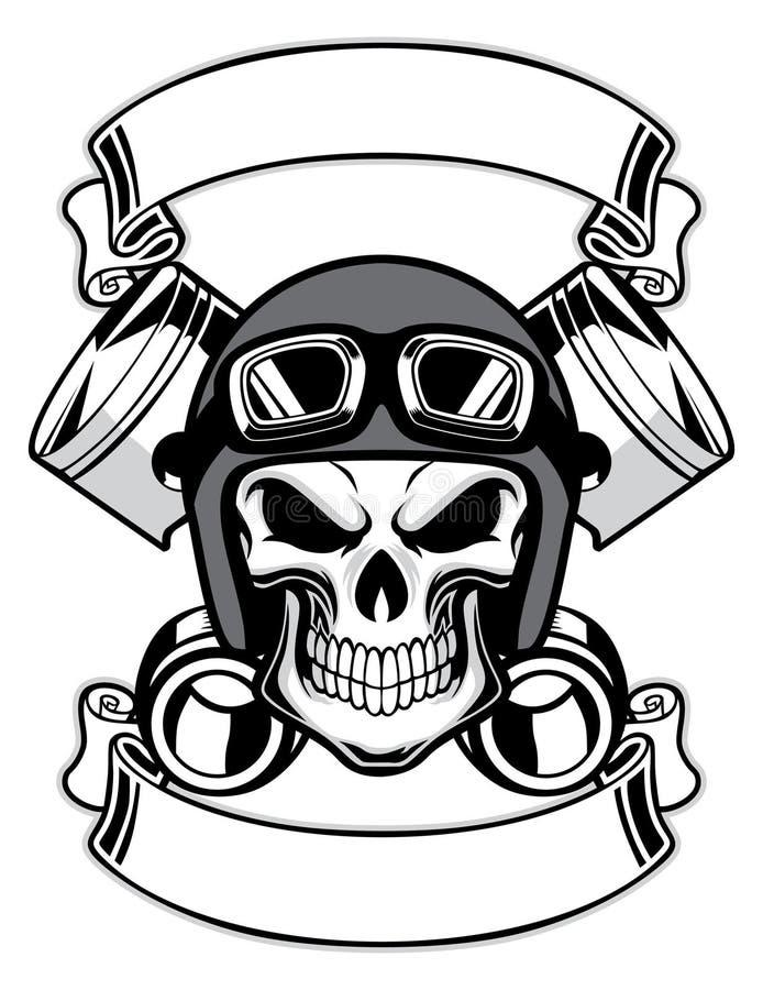 Cráneo que lleva el casco retro de la moto libre illustration