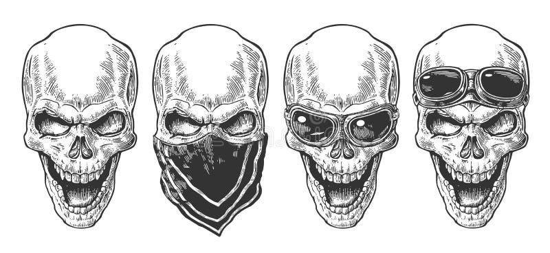 Cráneo que sonríe con el pañuelo y los vidrios para la motocicleta Ejemplo negro del vector del vintage Para el club del cartel y ilustración del vector