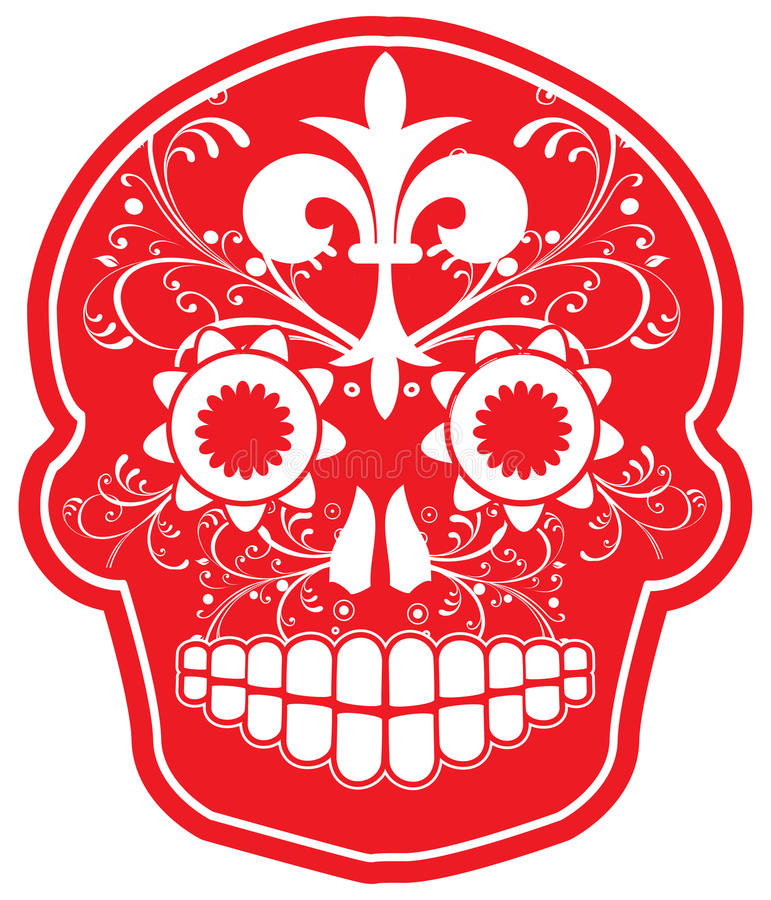 Cráneo rojo del azúcar del vector