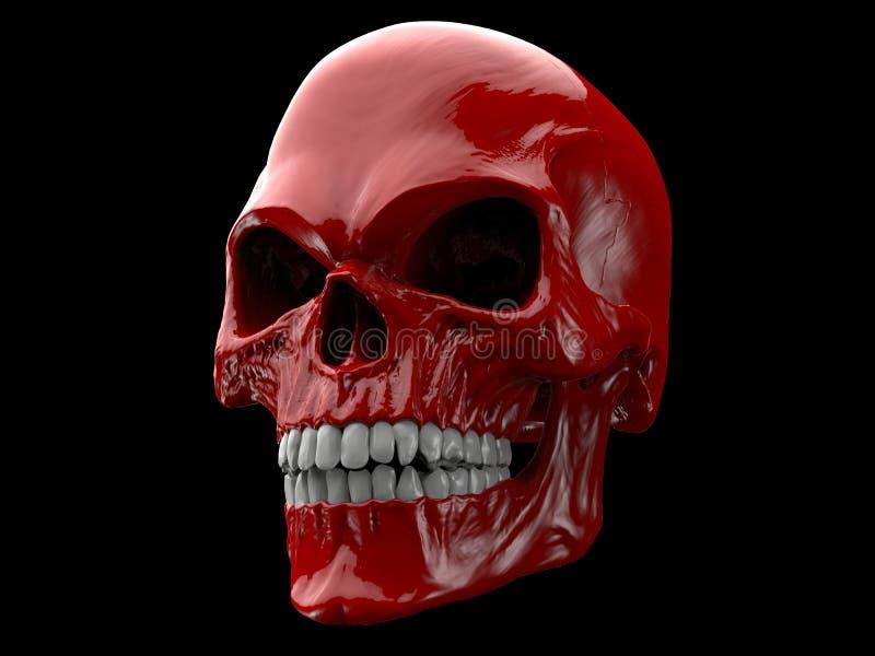 Cráneo rojo sangre del demonio ilustración del vector