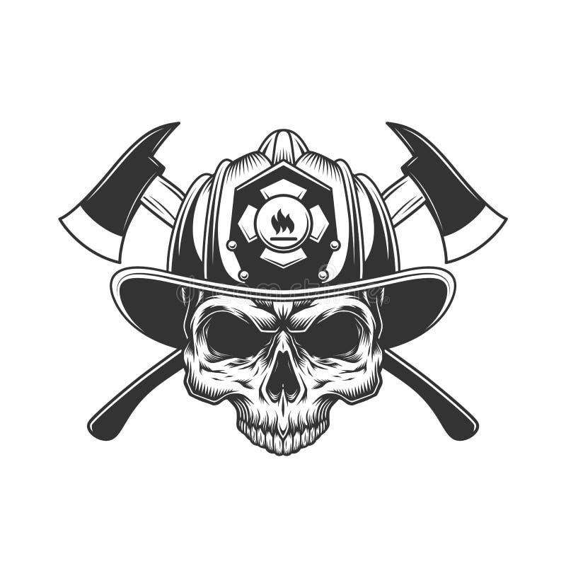 Cráneo sin el mandíbula en casco del bombero stock de ilustración