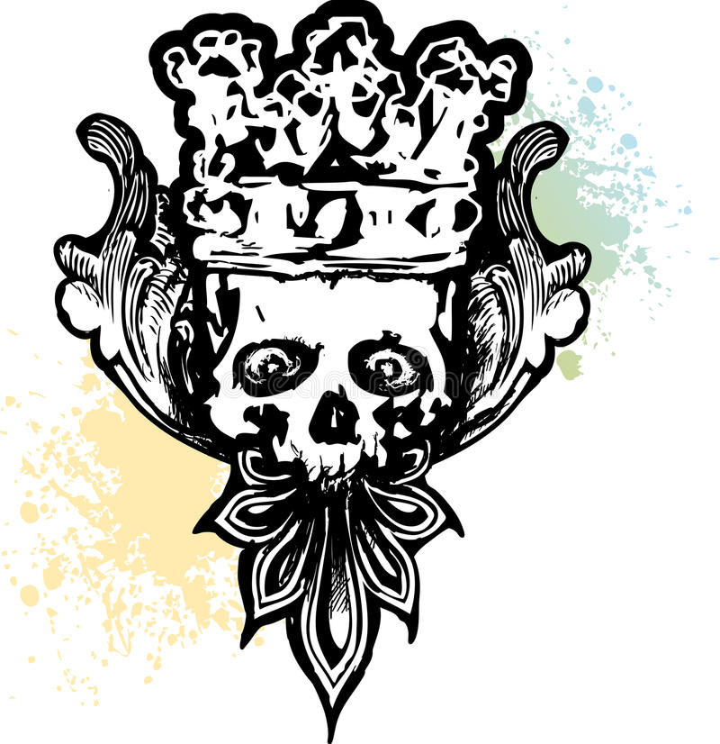 Cráneo travieso coronado stock de ilustración