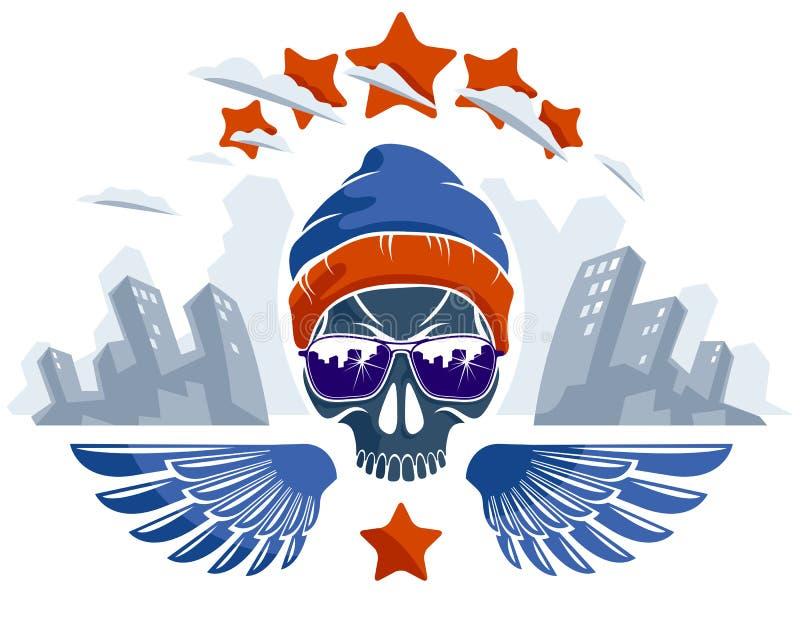 Cráneo urbano del estilo de la cultura en el logotipo o el ejemplo del emblema, del gángster o del gamberro, gamberro del vector  stock de ilustración