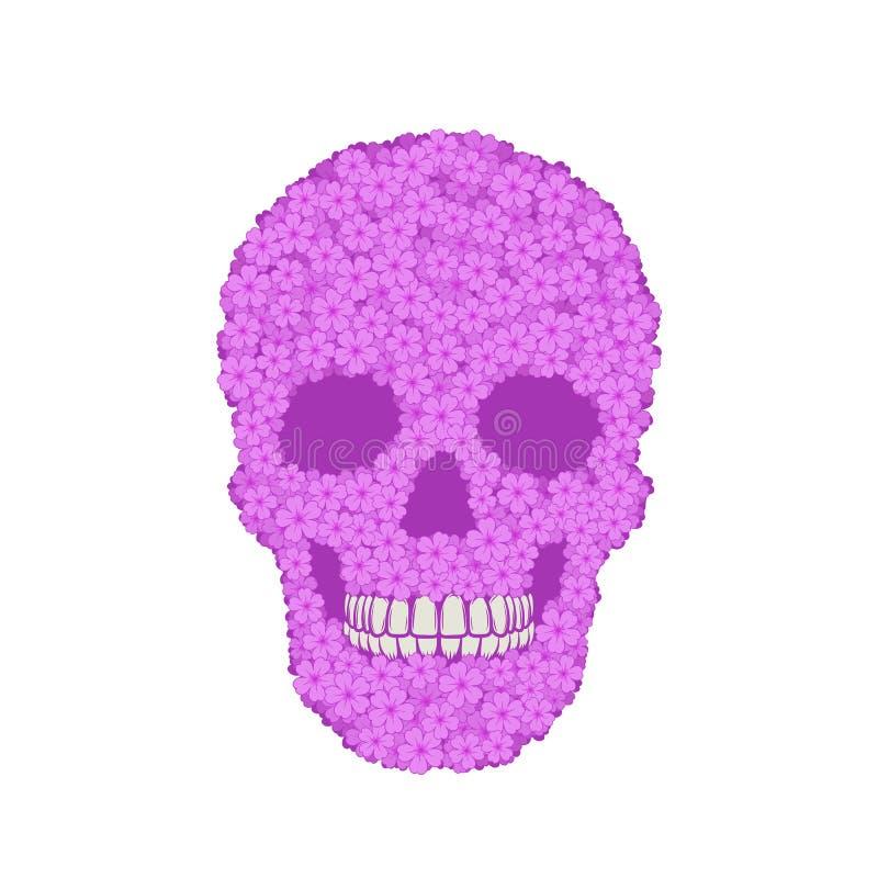 Cráneo violeta estilizado de la verbena en el fondo blanco stock de ilustración