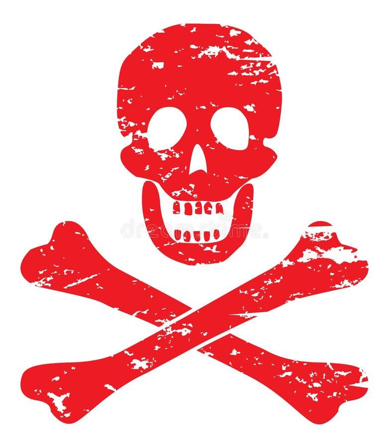 Cráneo y bandera pirata stock de ilustración