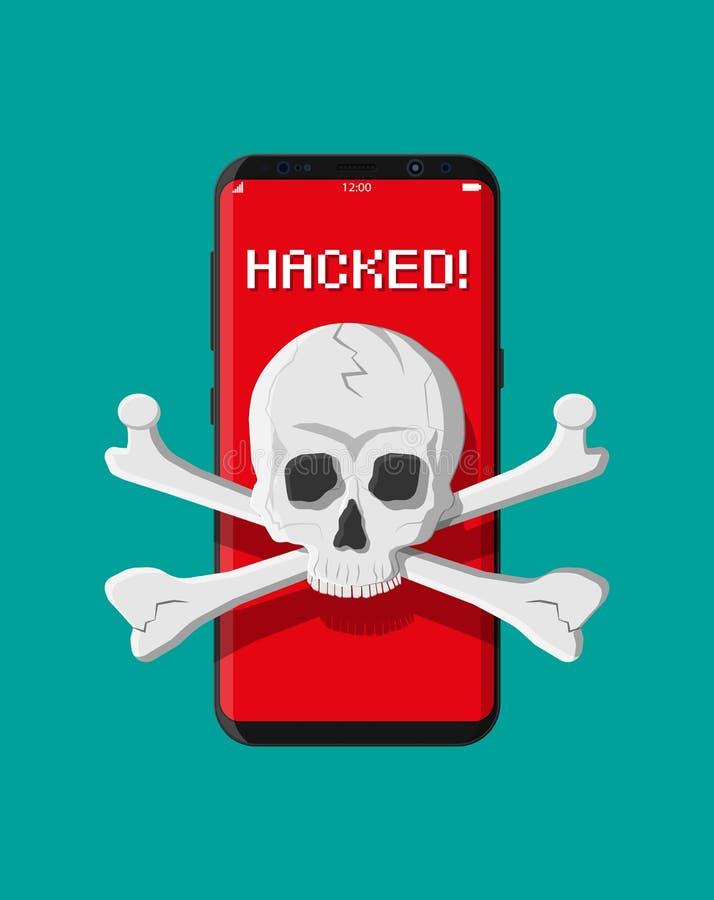 Cráneo y bandera pirata de la muerte en la pantalla del smatphone libre illustration