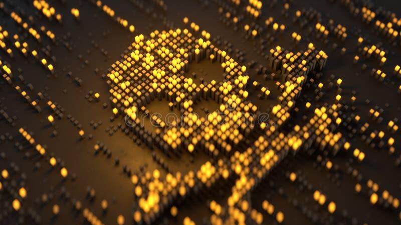Cráneo y bandera pirata hechos de la representación amarilla de los cubos 3D ilustración del vector
