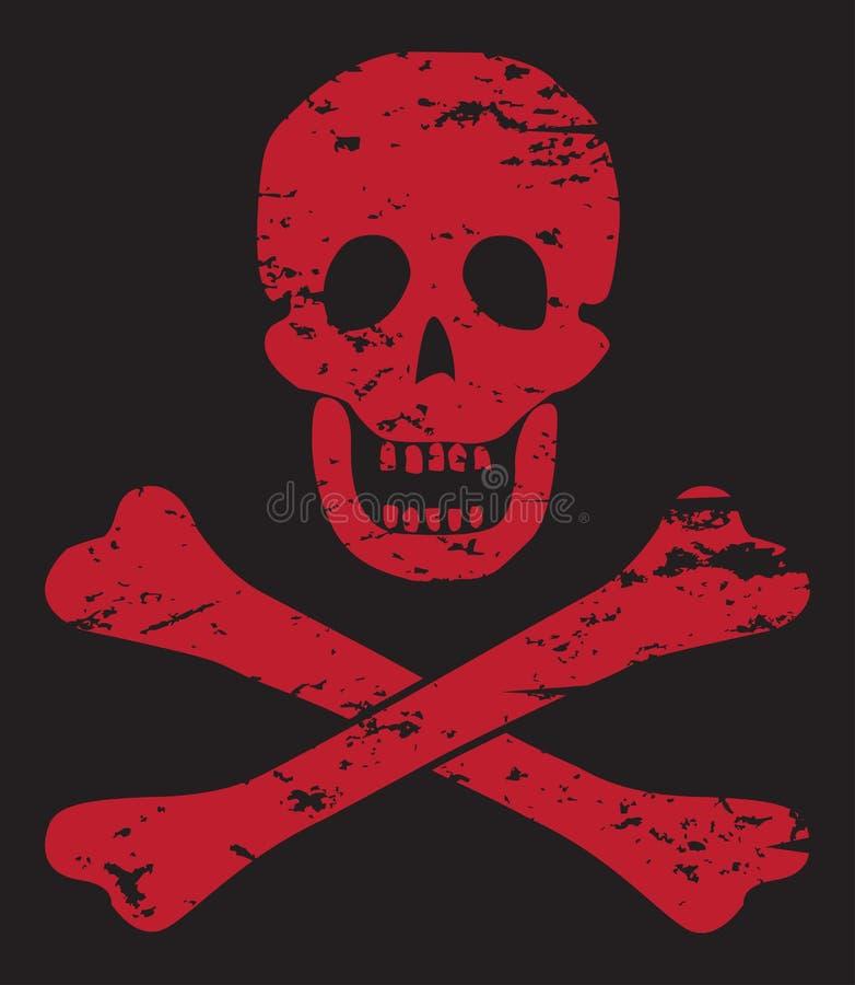 Cráneo y bandera pirata rojos en negro libre illustration