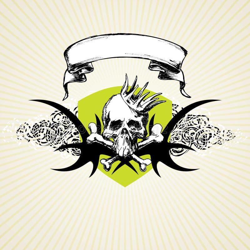 Cráneo y corona de Grunge ilustración del vector