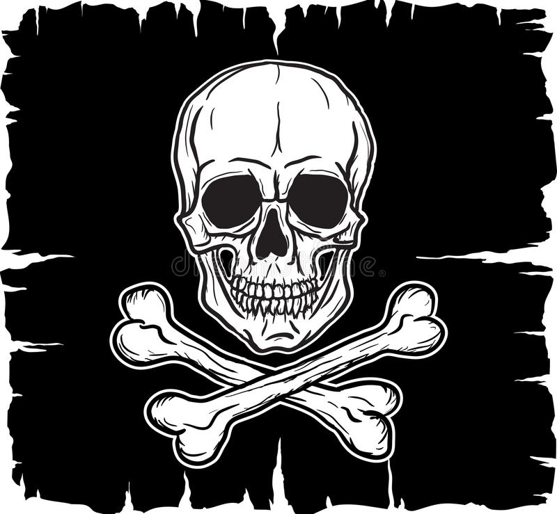 Cráneo y Crossbones sobre indicador negro stock de ilustración