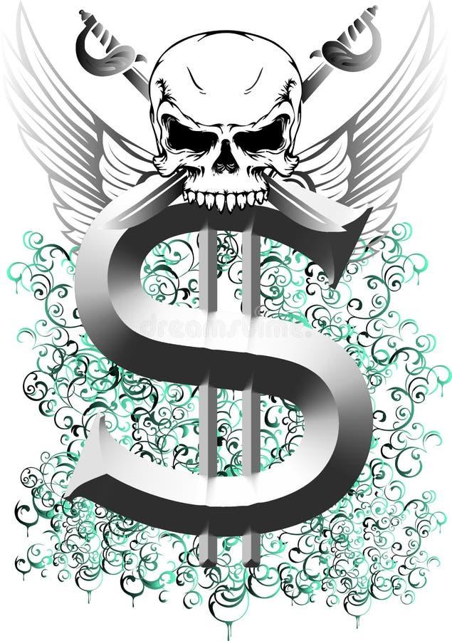 Cráneo y dólar stock de ilustración