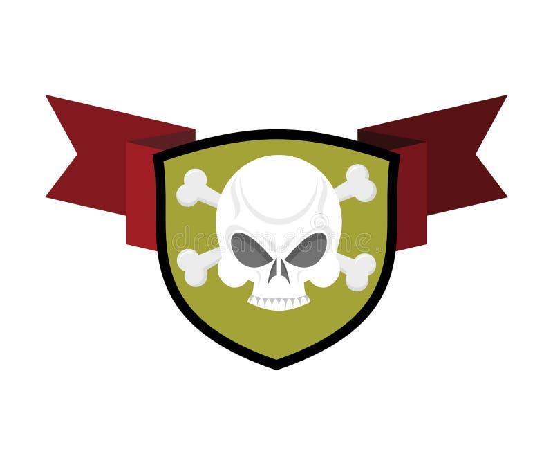 Cráneo y escudo Huesos cruzados y emblema principal esquelético herald stock de ilustración