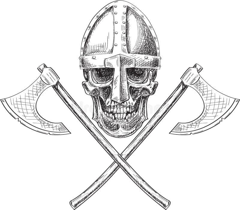 Cráneo y hachas de Viking stock de ilustración