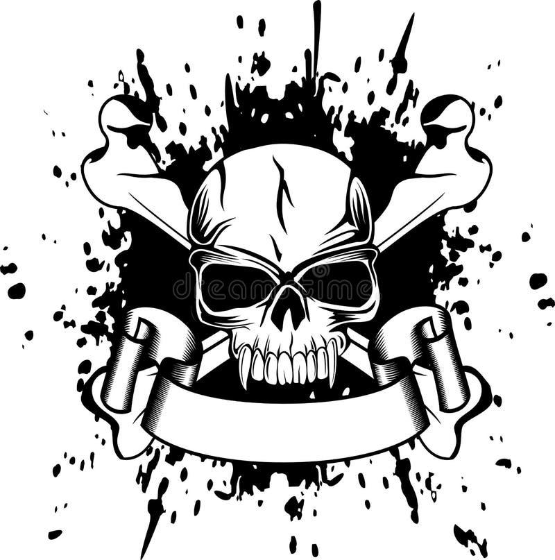 Cráneo y huesos cruzados stock de ilustración