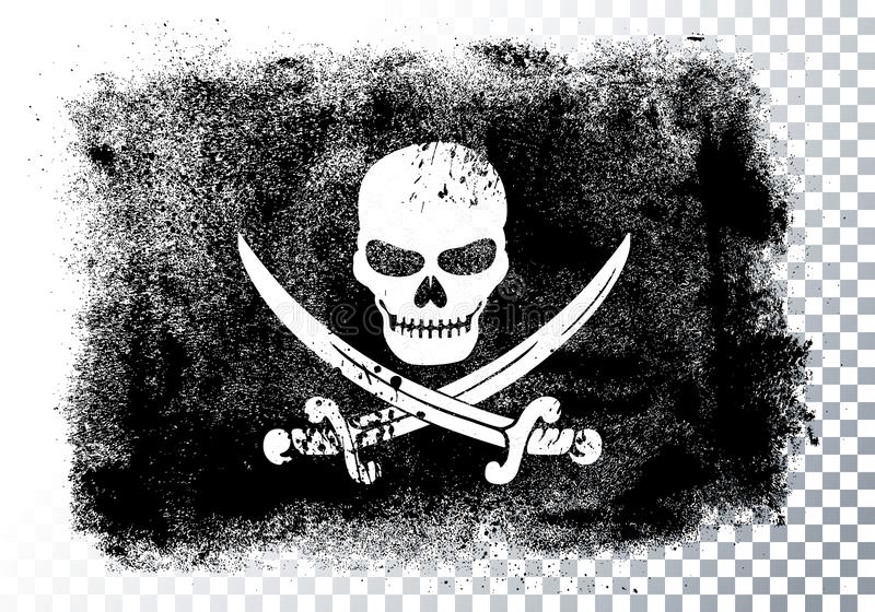 Cr?neo y huesos de Jolly Roger Black Pirate Flag With ilustración del vector