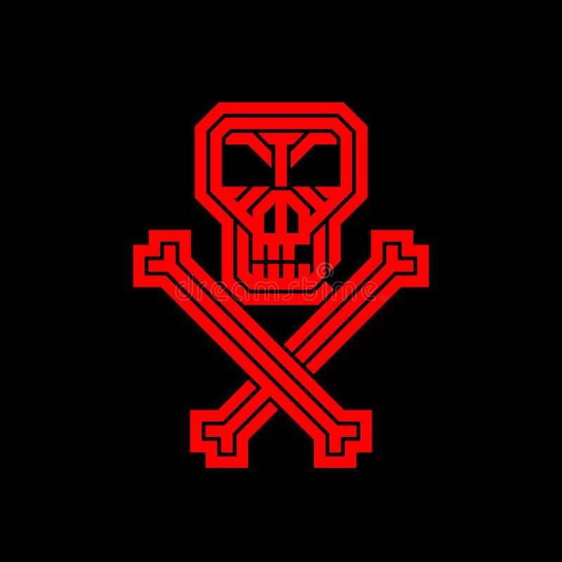 Cráneo y huesos del pirata Logotipo creativo abstracto para la identidad corporativa de la compañía Un cartel, prospecto para el  ilustración del vector