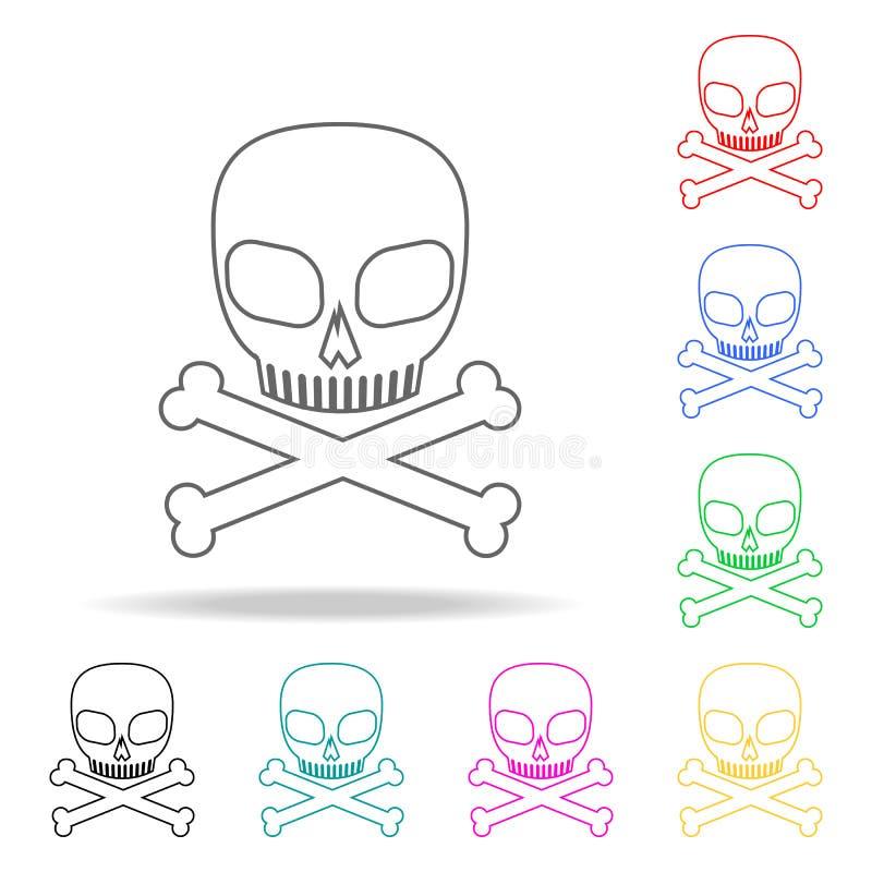 Cráneo y huesos Elementos de la muerte en iconos coloreados multi Icono superior del diseño gráfico de la calidad Icono simple pa libre illustration