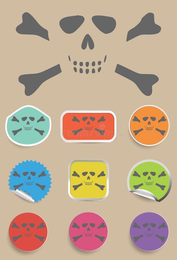Cráneo y huesos - una marca de la advertencia del peligro libre illustration