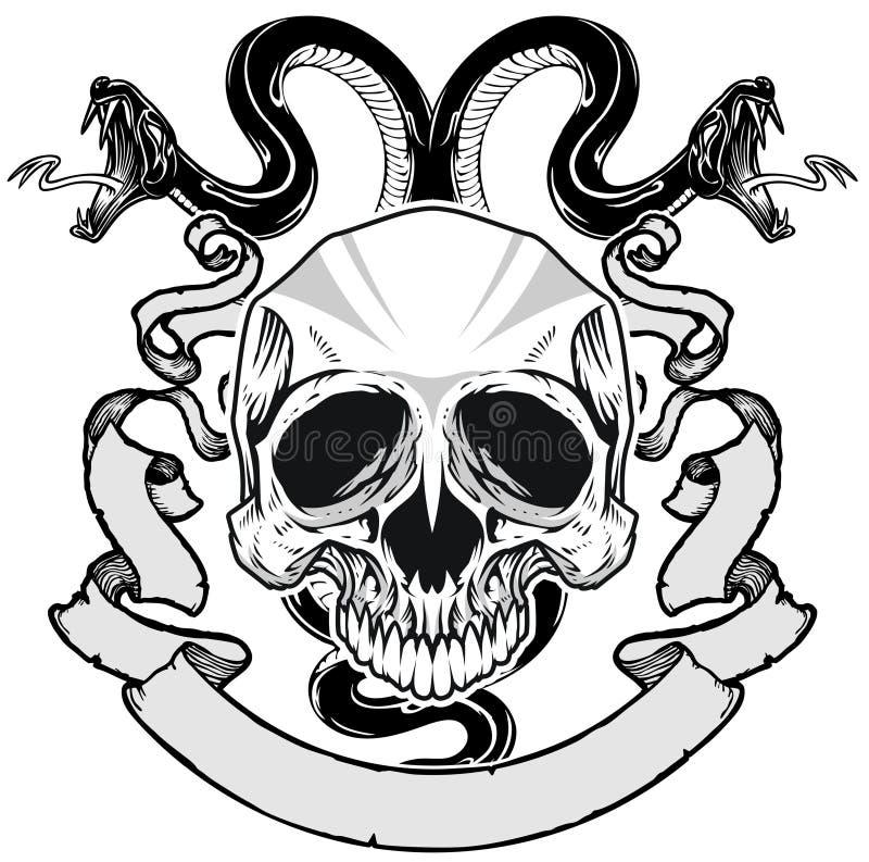 Cráneo y serpiente stock de ilustración