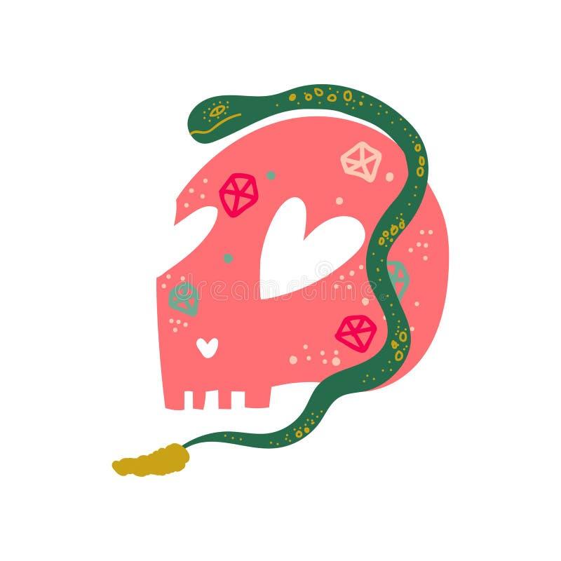 Cráneo y serpiente humanos, objeto mágico, ejemplo del vector de la cualidad de la brujería ilustración del vector