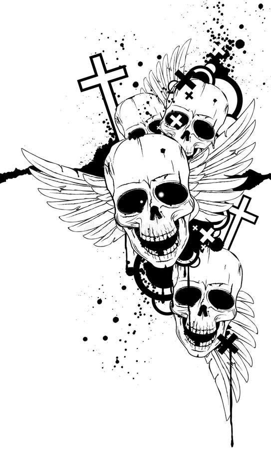Cráneos blancos y negros libre illustration