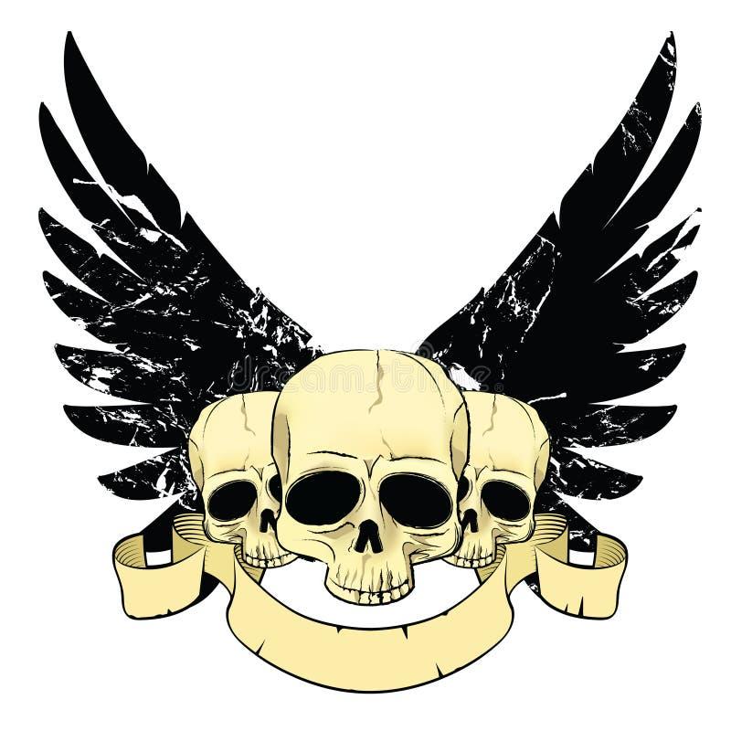 Cráneos con las alas stock de ilustración