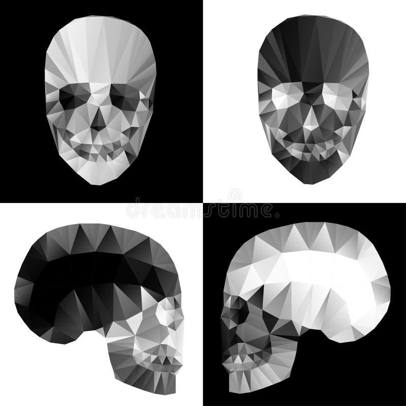 Cráneos cristalinos en fondos blancos y negros foto de archivo