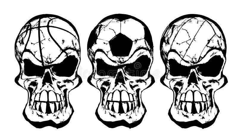 Cráneos de la bola ilustración del vector