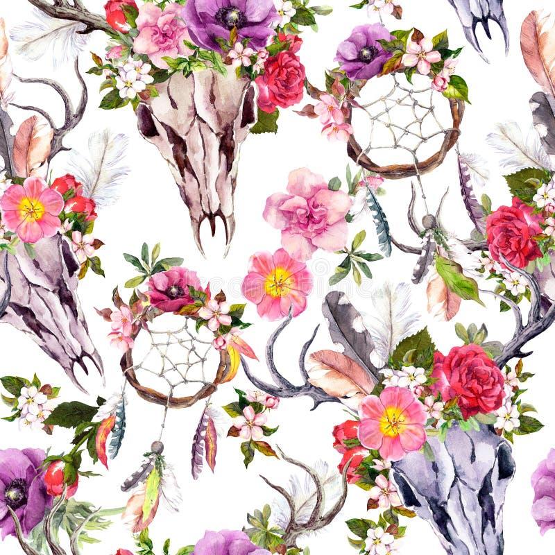 Cráneos de los ciervos, flores, colectores ideales - dreamcatcher Modelo inconsútil watercolor stock de ilustración