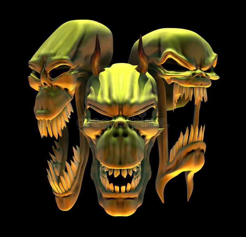 Cráneos de risa del demonio stock de ilustración