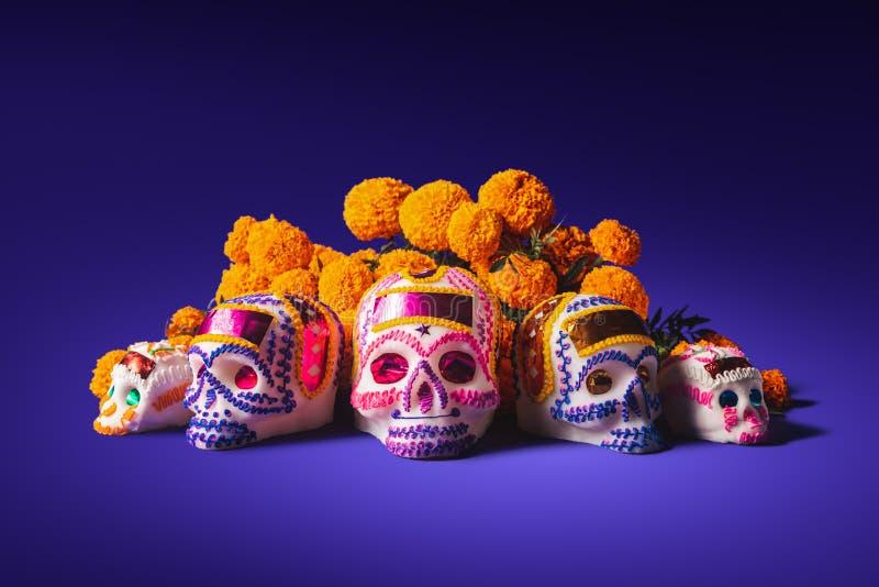 Cráneos del azúcar en un fondo púrpura foto de archivo libre de regalías