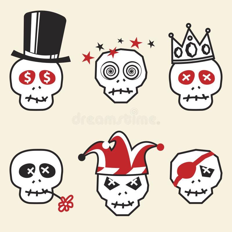 Cráneos divertidos ilustración del vector