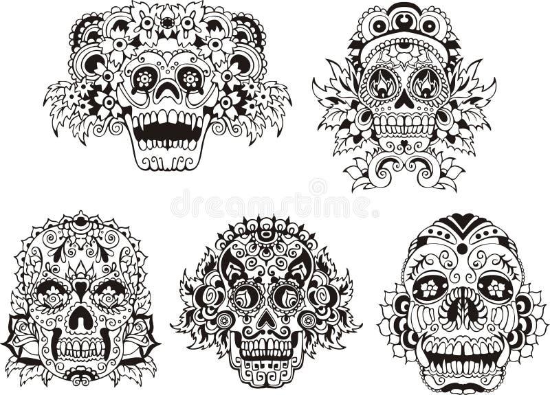 Cráneos florales ilustración del vector