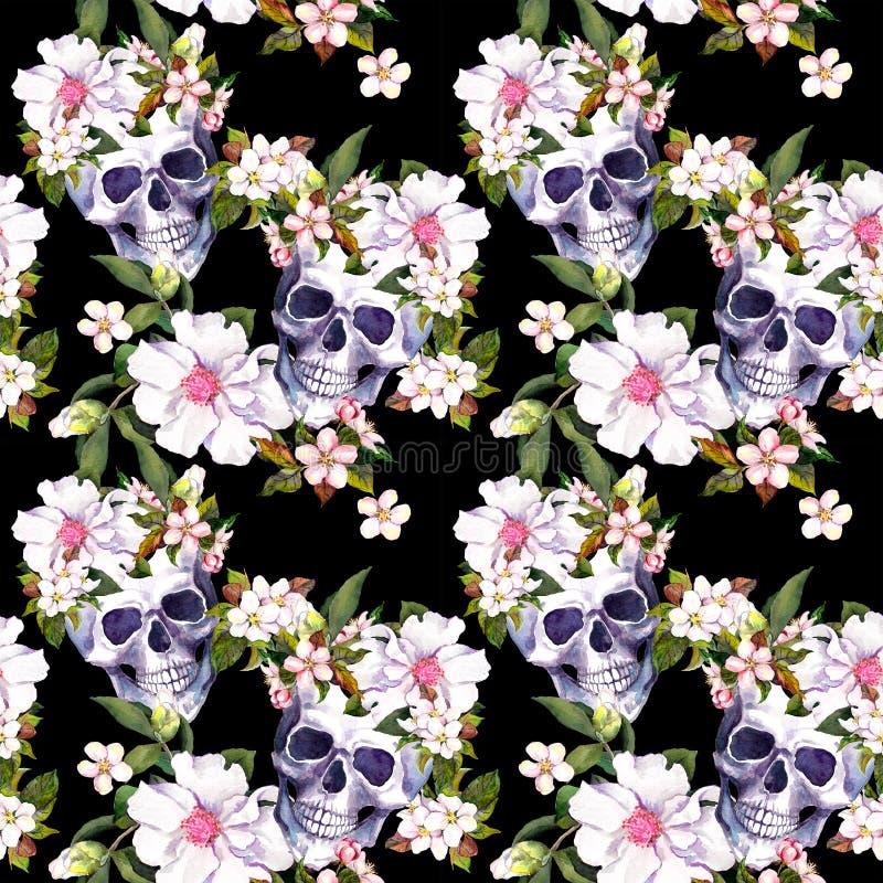 Cráneos humanos, flores en el fondo negro Modelo inconsútil watercolor imágenes de archivo libres de regalías