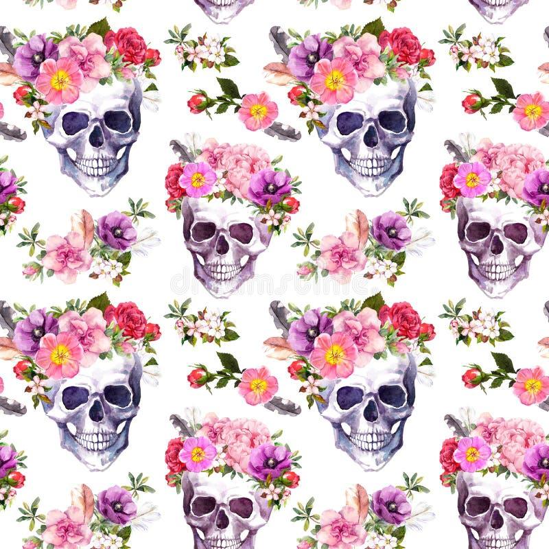 Cráneos humanos, flores Modelo inconsútil watercolor imagen de archivo libre de regalías