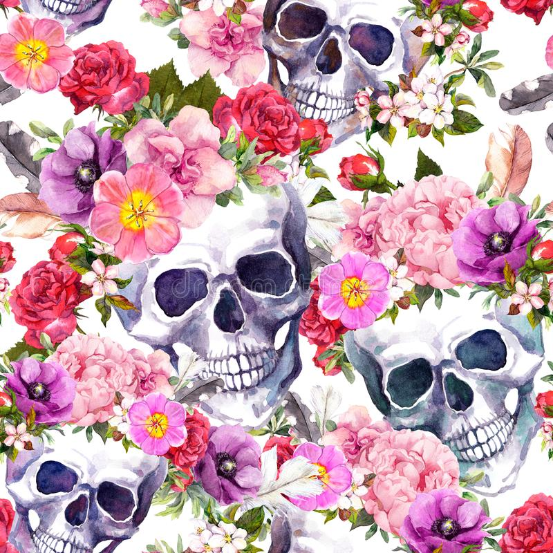 Cráneos humanos, flores Modelo inconsútil watercolor stock de ilustración