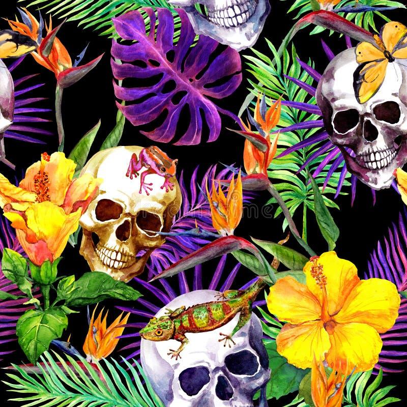 Cráneos humanos, hojas tropicales, animales, flores exóticas Repetición del modelo en el fondo negro watercolor ilustración del vector