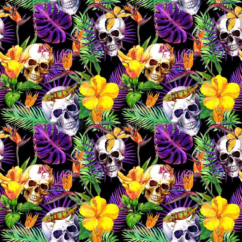 Cráneos humanos, hojas tropicales, animales, flores exóticas Repetición del modelo en el fondo negro watercolor stock de ilustración