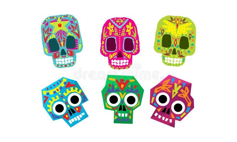 Cráneos mexicanos sistema, día del azúcar del ejemplo colorido muerto del vector de los símbolos stock de ilustración