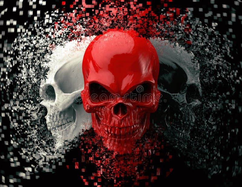 Cráneos rojos, blancos y negros que estallan en los pixeles libre illustration
